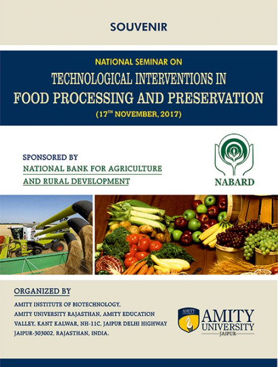 National Seminar on Technology Intervention in Food Processing and Preservation 1