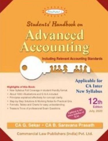 Padhuka Advance Accounting new Syllabus for CA Inter II By G Sekar and B Sarvana Prasath(commercial law publishers)
