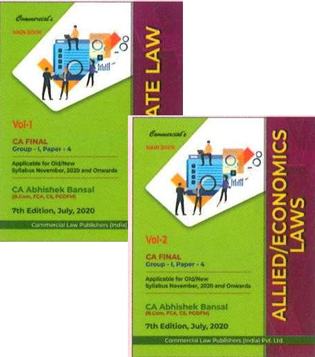 Commercial CA Final Corporate Economic & Allied Laws (Set of 2 Volume) Old and New Syllabus By Abhishek Bansal Applicable for Nov 2020 Exam