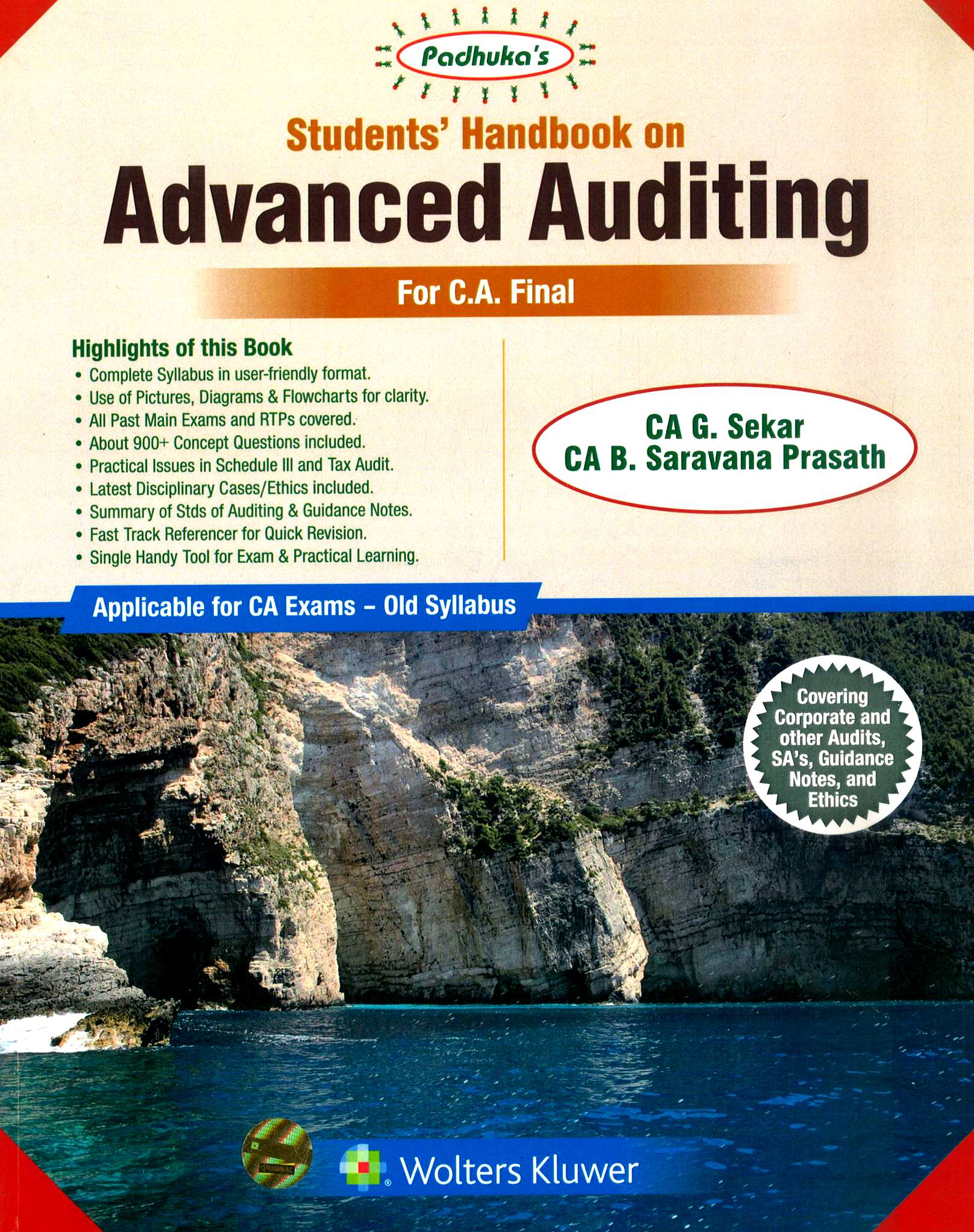 Padhuka's Student Handbook on Advanced Auditing CA Final (new Syllabus) by CA G. Sekar and CA B. Saravana Prasath (Wolters Kluwer Publishing) for nov 2020