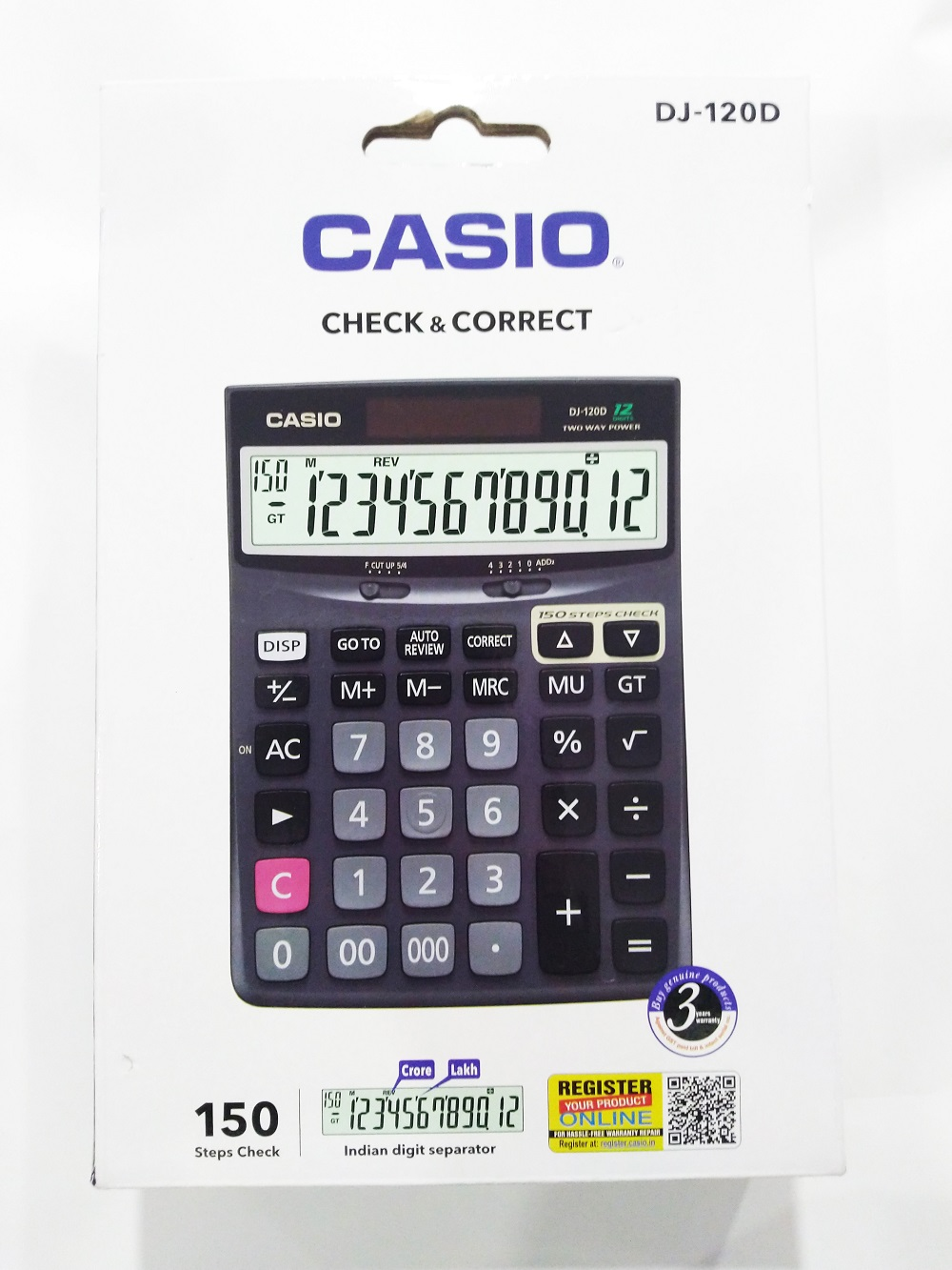 Casio DJ-120D Calculator 3Years Warranty with Check and Correct Function