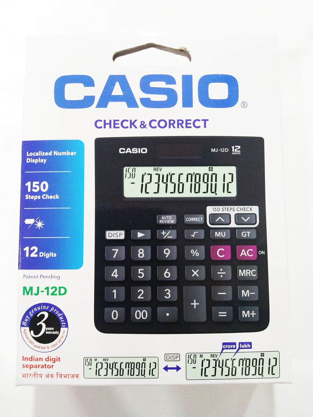 Casio MJ-12D Calculator 3Years Warranty with Check and Correct Function