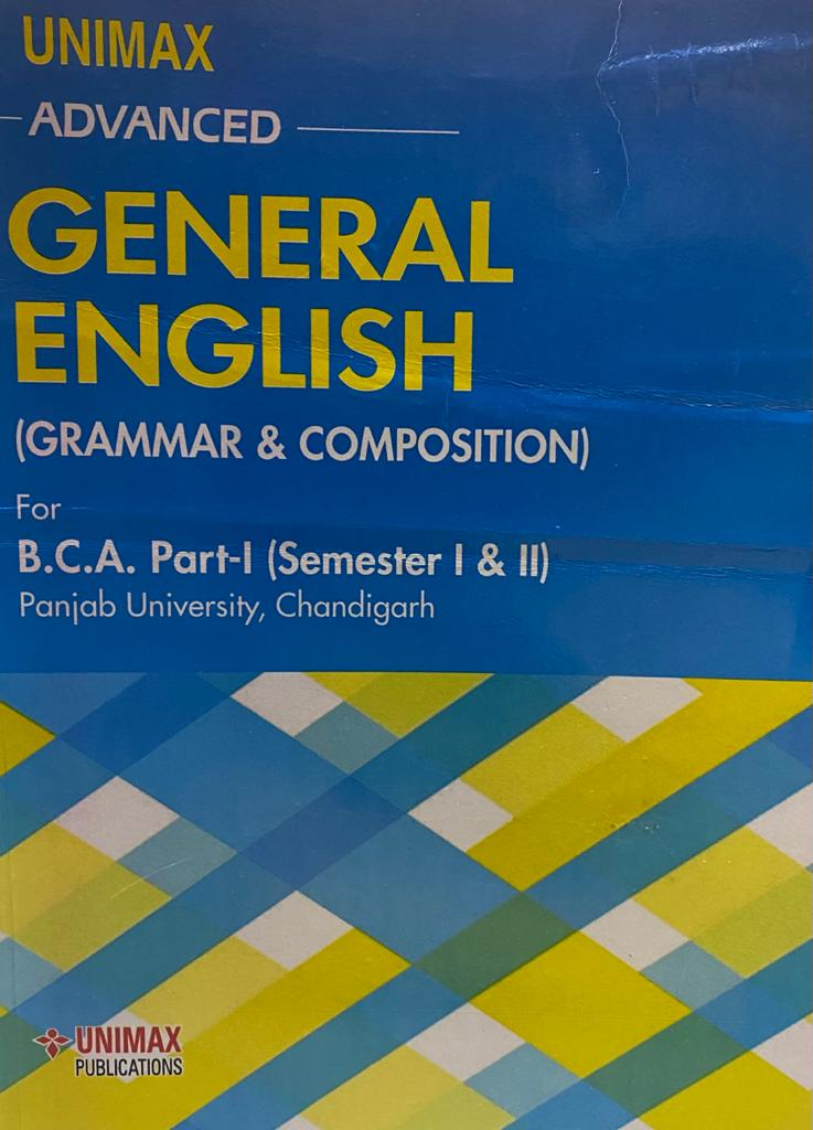 Unimax advanced general English for BCA Part 1 (P.U.) Sem. 1 & 2 Edition 2020