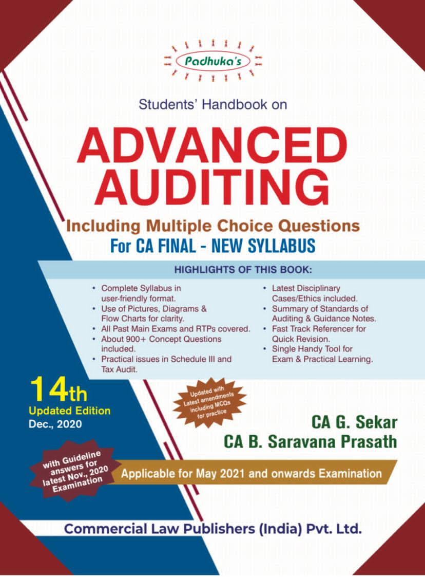 Padhuka's Student Handbook on Advanced Auditing CA Final (new Syllabus) by CA G. Sekar and CA B. Saravana Prasath (Wolters Kluwer Publishing) for 2021