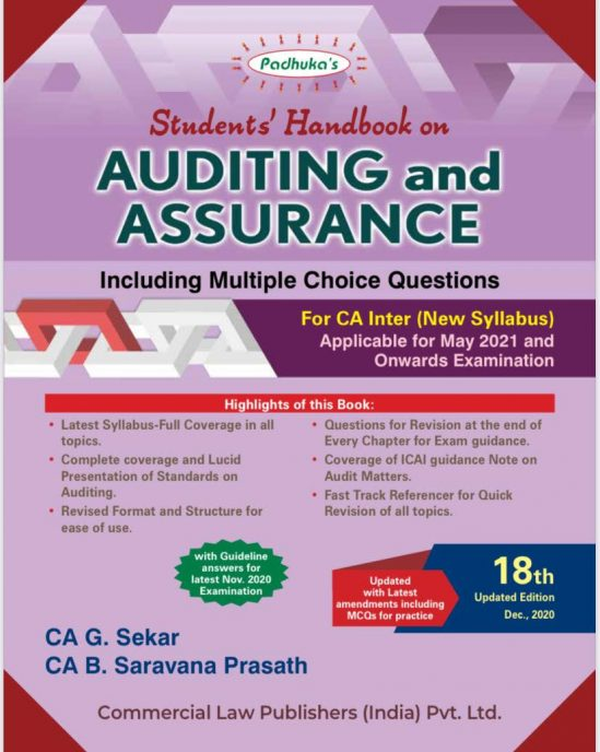 Padhuka's Students Handbook on Auditing & Assurance for CA Inter by G Sekar and Saravana Prasath Applicable for 2021 Exam 1