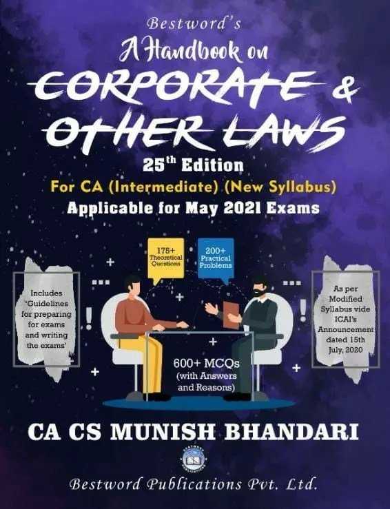 Bestword's A Handbook on Corporate and other Laws for CA Inter (IPCC) By Munish Bhandari Applicable for 2021