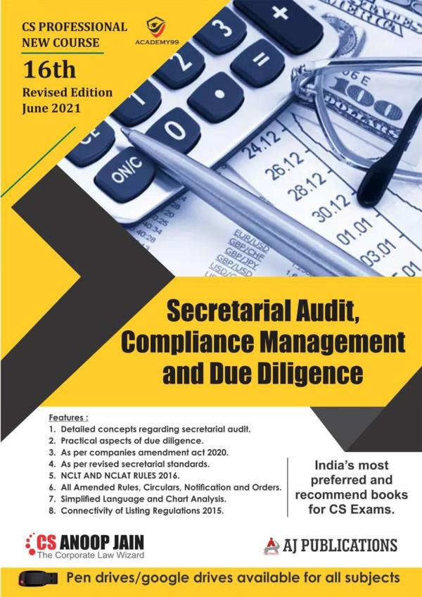 Aj publication CS Professional Programme Secretarial Audit, Compliance Management and Due Diligence New Syllabus By Cs Anoop Jain Applicable for May June 2021 Exam