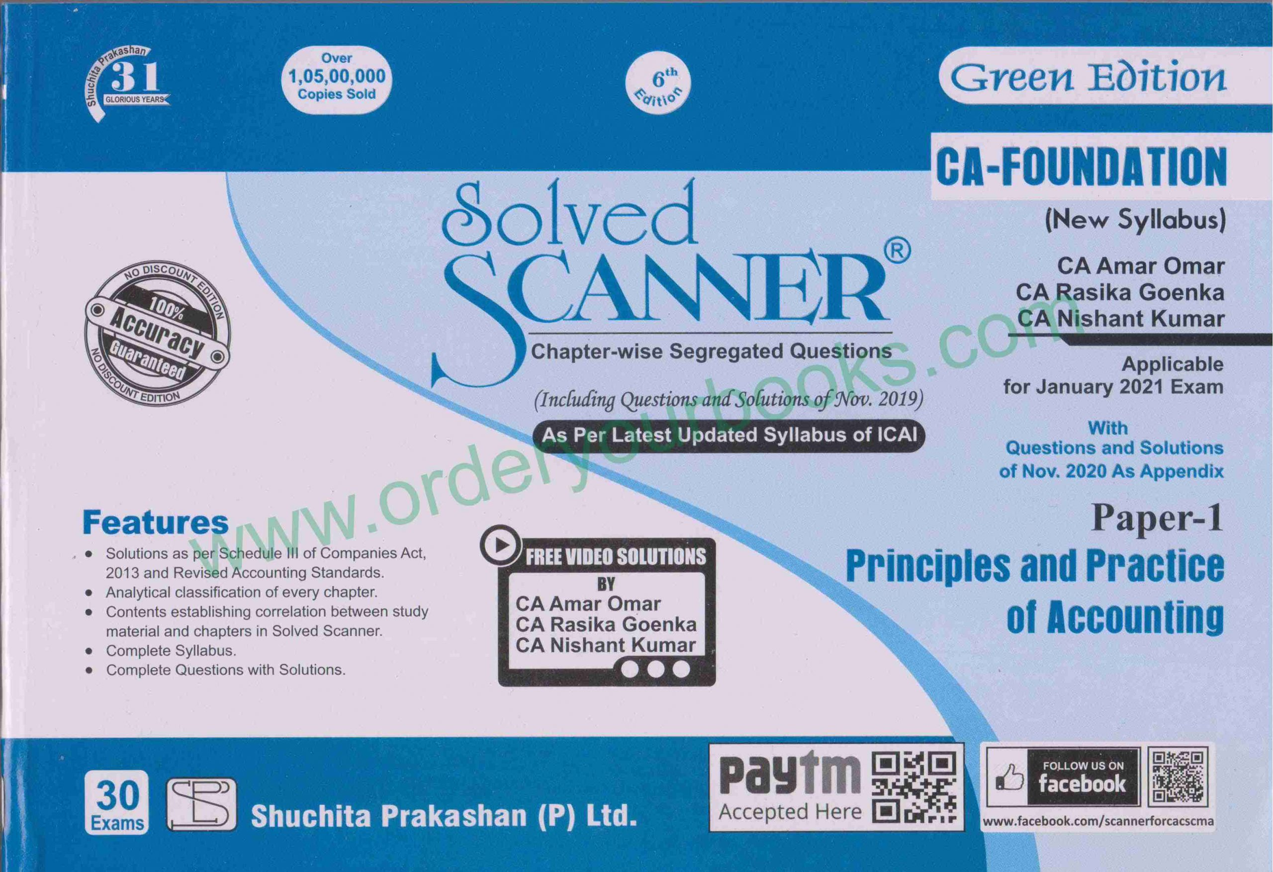 Shuchita CA Foundation Paper 1 (New Syllabus) Principles and Practice of Accounting Solved Scanner by CA Amar Omar, CA Rasika & Nishant Kumar for 2021 ATTEMPT