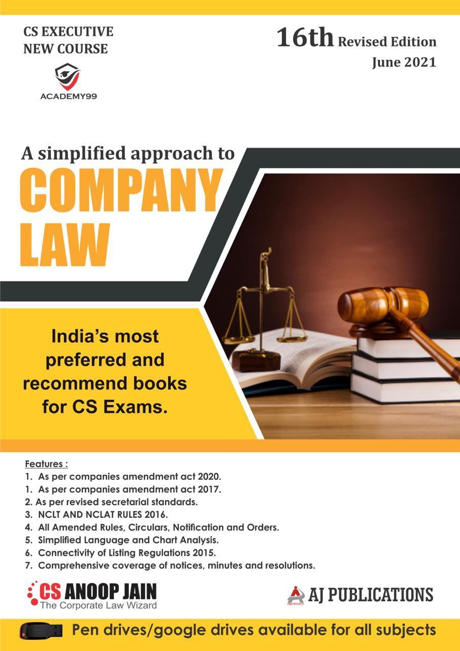 AJ Publications CS Executive Company Law(new course) by CS Anoop Jain Applicable (AJ Publishing) for 2021 Exam