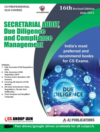 AJ Publication Secretarial Audit, Compliance Management And Due Diligence old syllabus for CS Professional by CS Anoop Jain for 2021 Exam