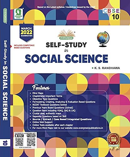 Evergreen CBSE Self Study In Social Science: For March 2022 Examinations(CLASS 10) Paperback – 1 January 2020