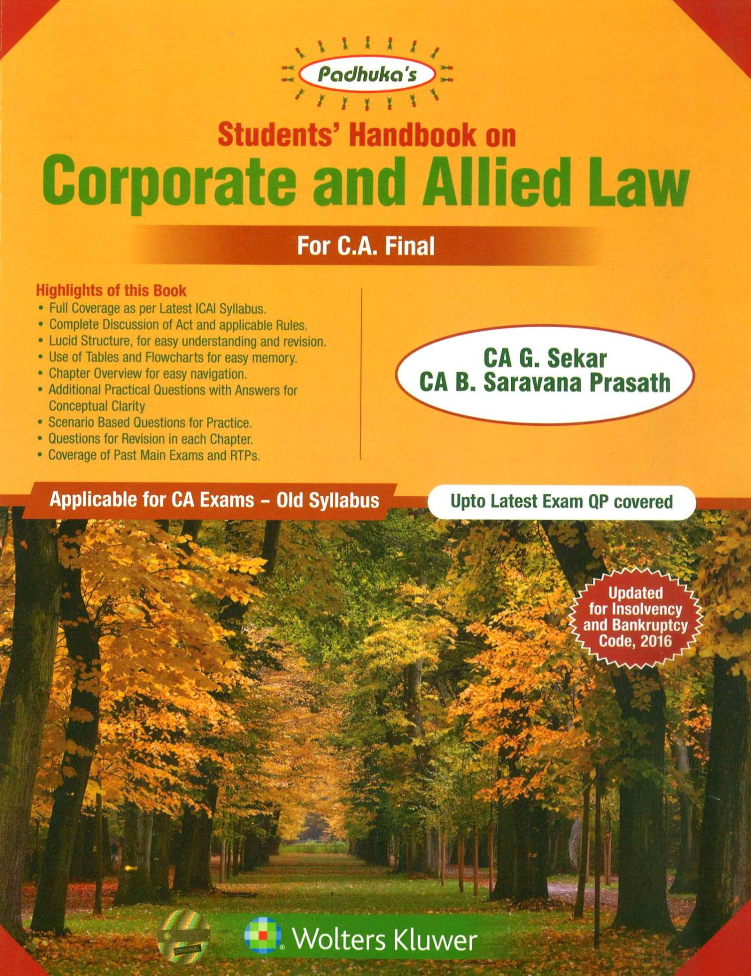 Padhuka's Students Handbook on Corporate and Allied Law CA Final for May 2020 exam by CA G. Sekar and CA B. Saravana Prasath (Wolters Kluwer Publishing)