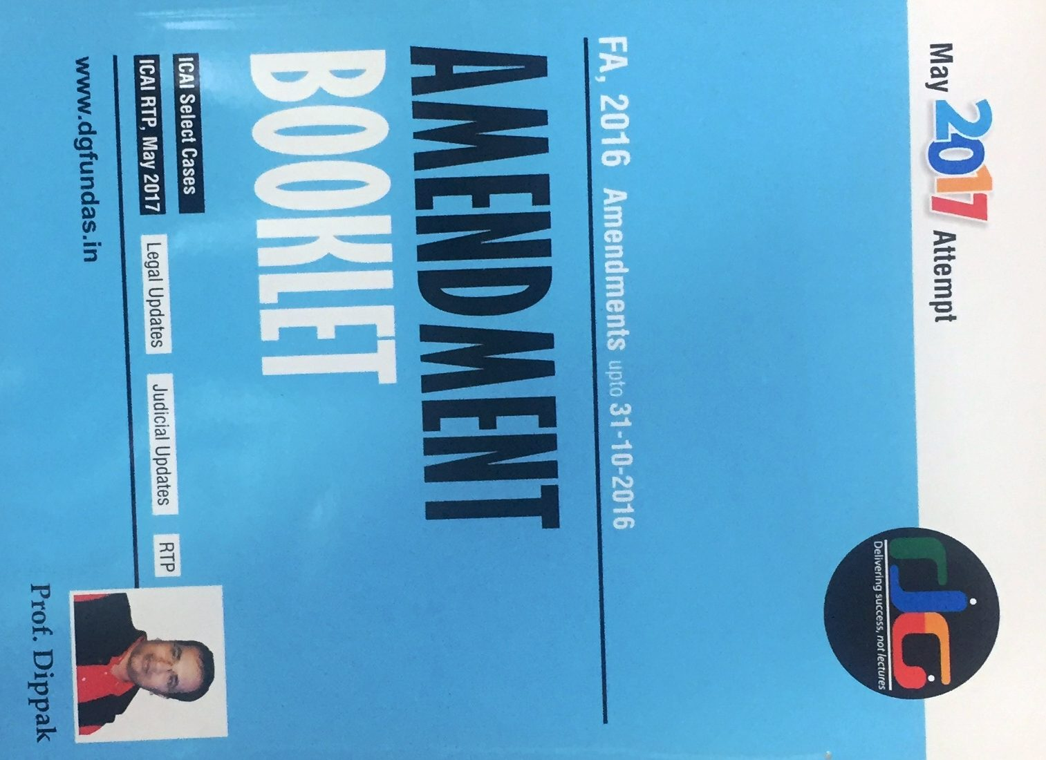Indirect Tax Amendment Booklet for CA Final by Prof Dippak Gupta (DG Education)Applicable For May 2020 Exam