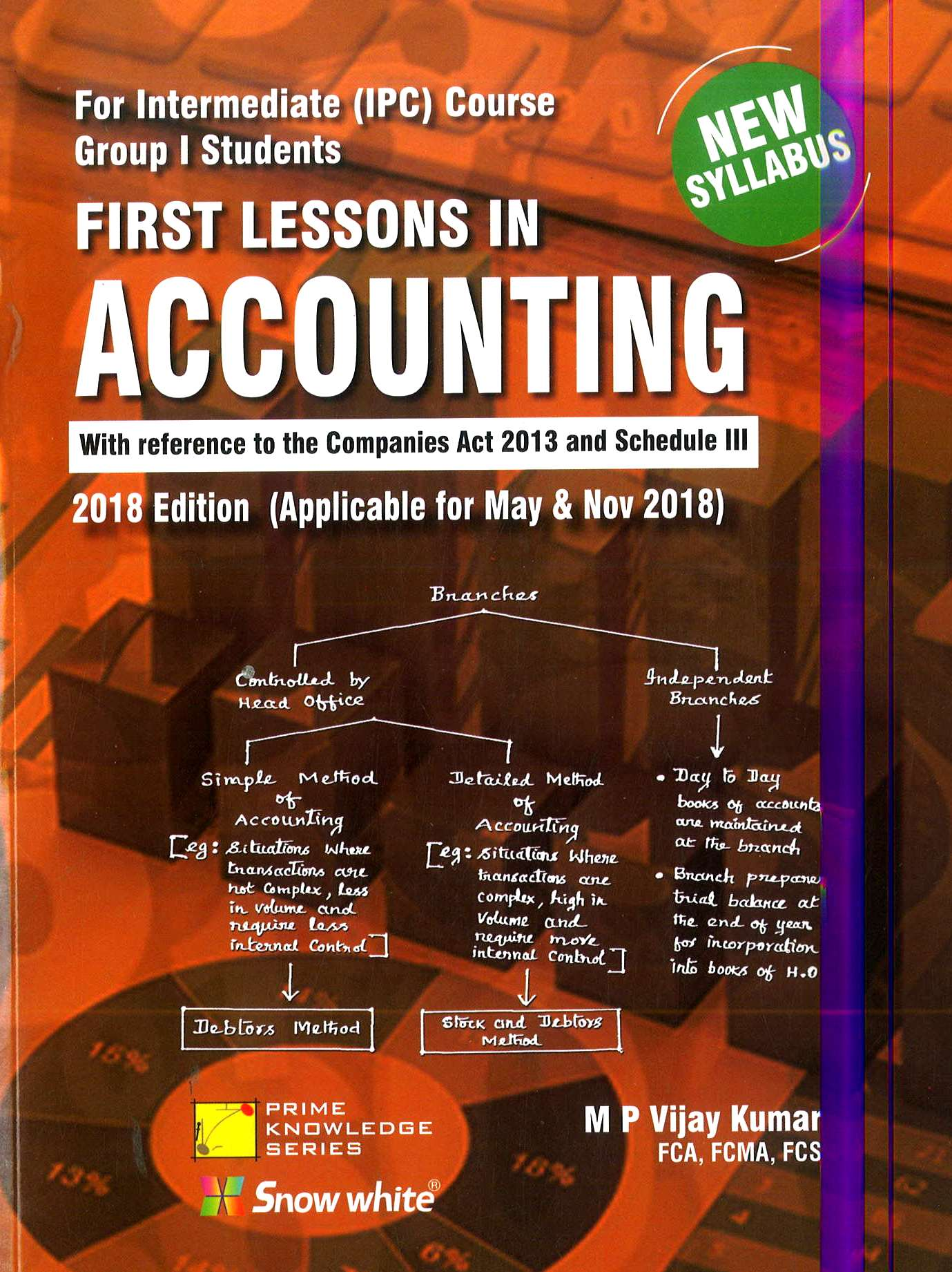 Snow White First Lessons In Accounting For CA IPCC Group 1 New Syllabus By M. P. Vijay Kumar Applicable for May 2018 Exam