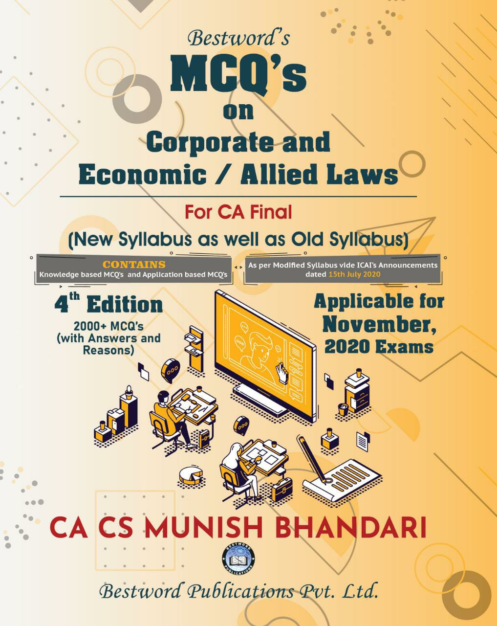 Bestword CA Final MCQs on Corporate and Allied Laws and Economic Laws Old and New Syllabus By Munish Bhandari Applicable for Nov 2020 Exam