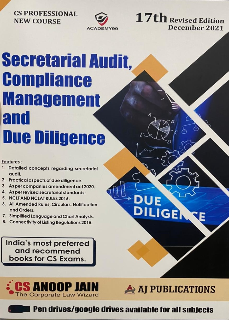 Aj publication CS Professional Programme Secretarial Audit, Compliance Management and Due Diligence New Syllabus By Cs Anoop Jain Applicable for 2021 Exam