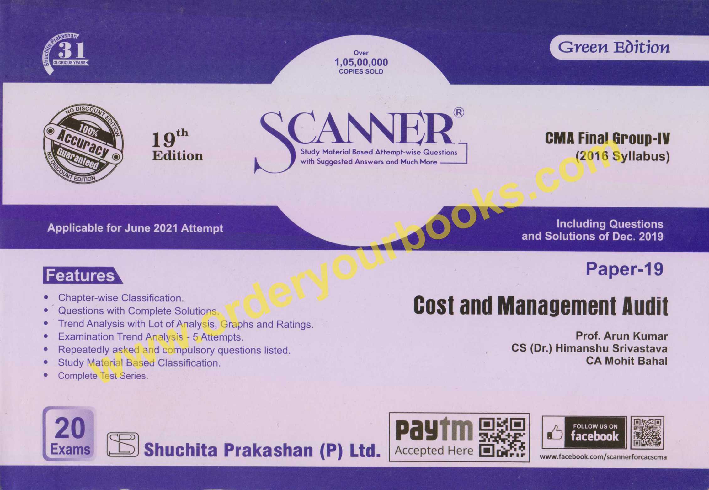 Shuchita Paper 19 CMA Final Group IV Solved Scanner for 2021 Cost and Management Audit for by Prof. Arun Kumar and CA Mohit Bahal (Shuchita Prakashan)
