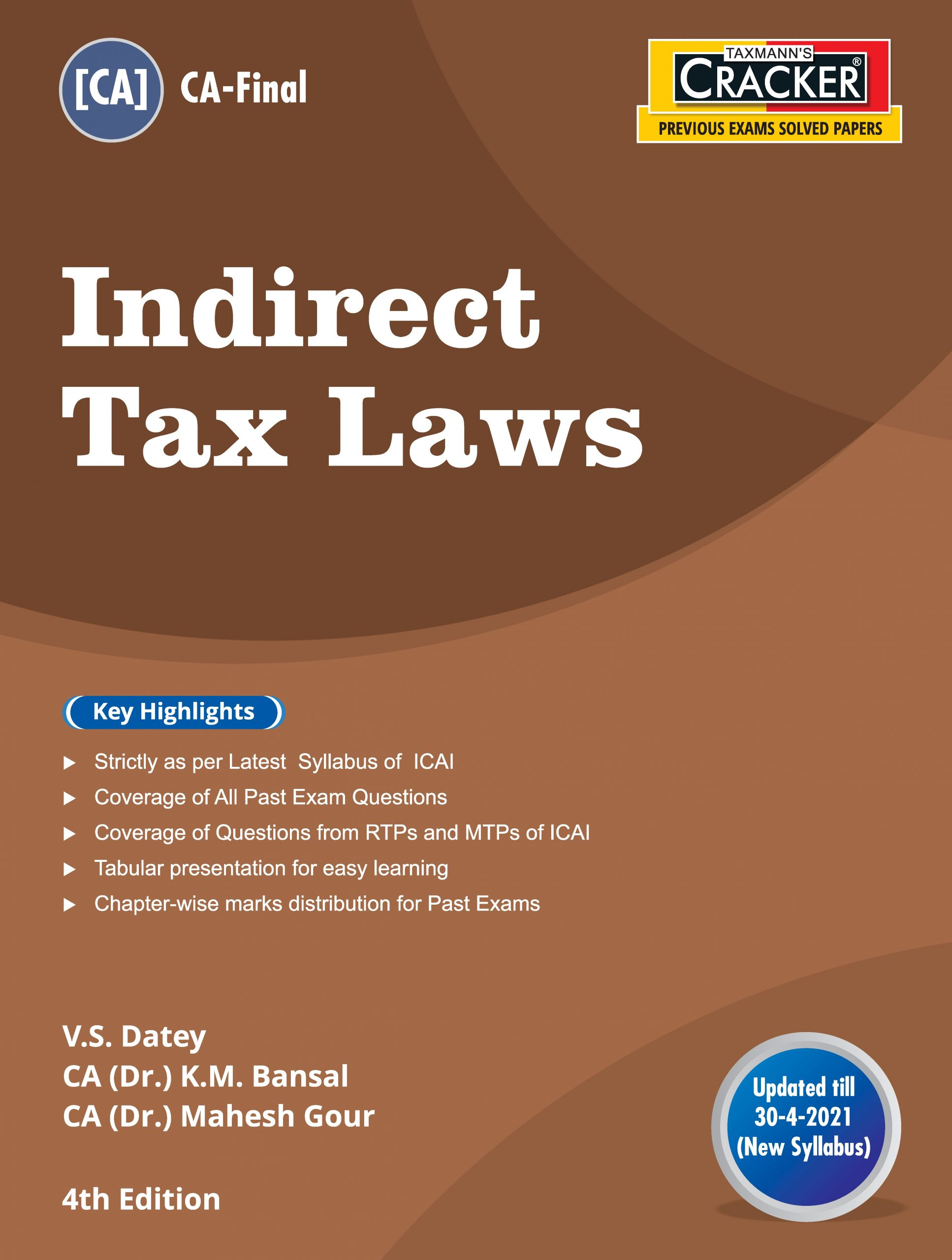 Taxmann Cracker CA final Indirect Tax Laws for 2021