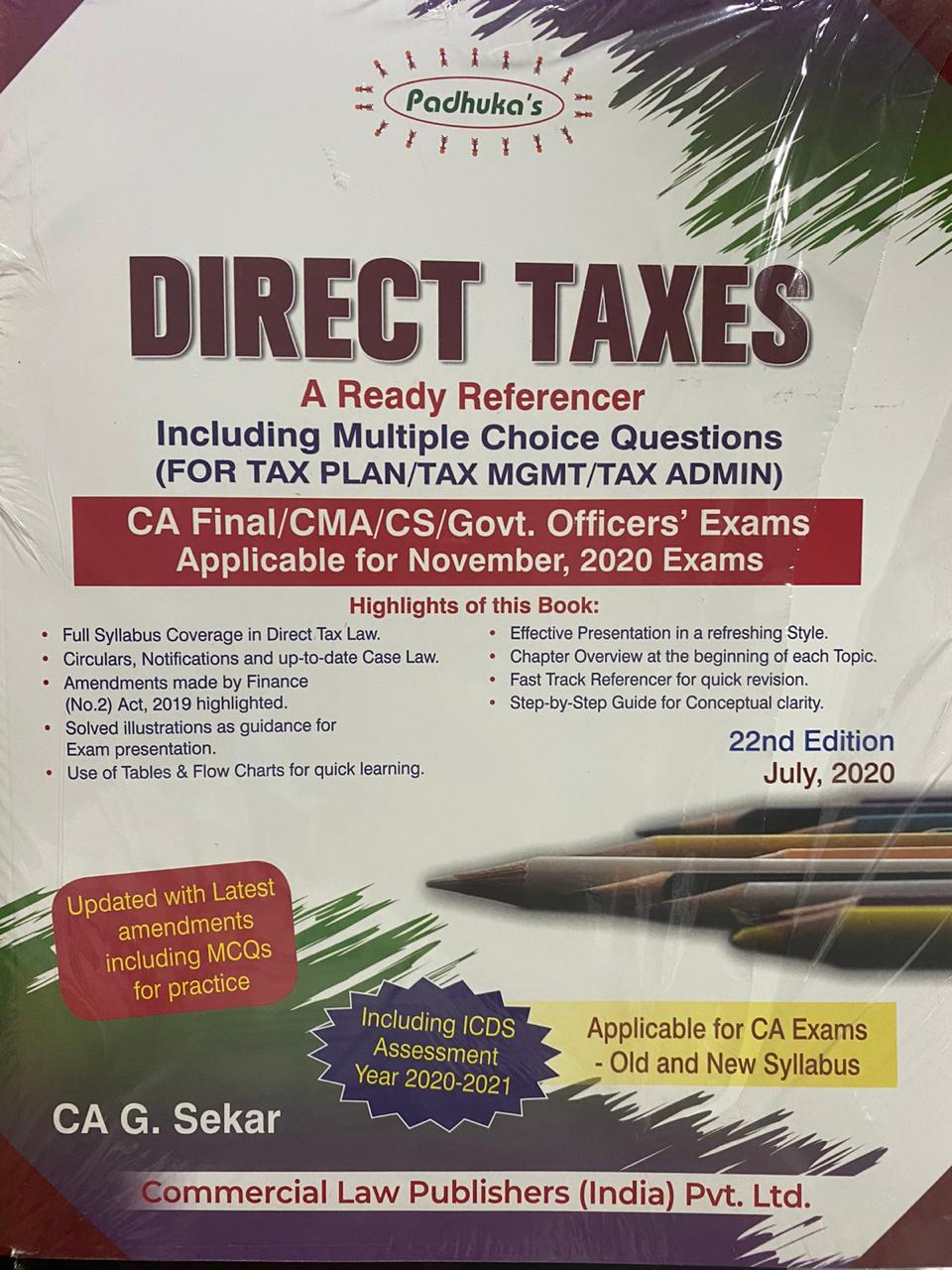 Padhuka Direct Taxes A ready Reference for CA Final (Old & New Syllabus) by CA G