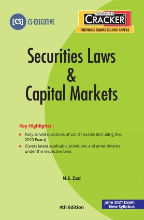 Taxmann cracker Securities Laws and Capital markets for CS Executive by N.S