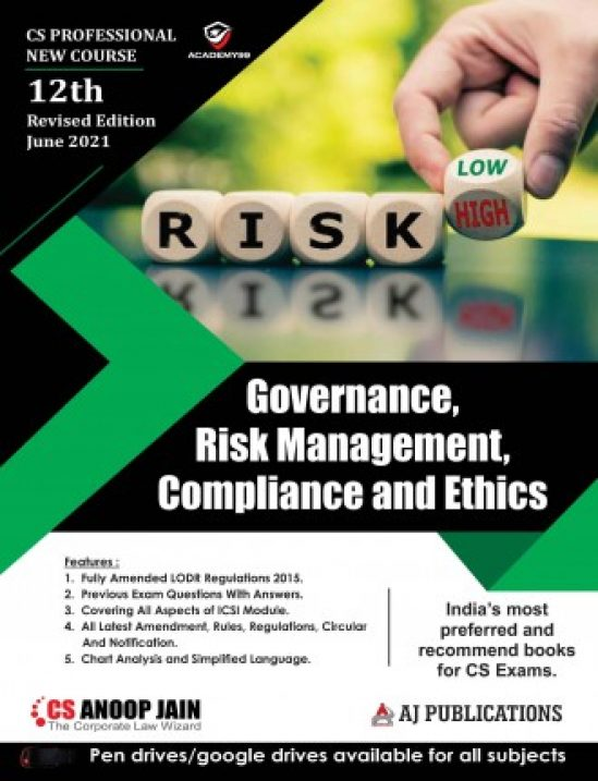 Aj publication CS Professional Programme Governance Risk Management Compliances and Ethics New Syllabus By CS Anoop Jain Applicable for 2021 Exam 1