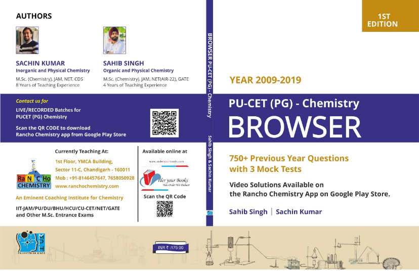 BROWSER PU-CET(PG) – Chemistry (750+ previous year Questions with 3 Mock Tests) by Sahib Singh and Sachin kumar for M.Sc. entrance examination edition 2021