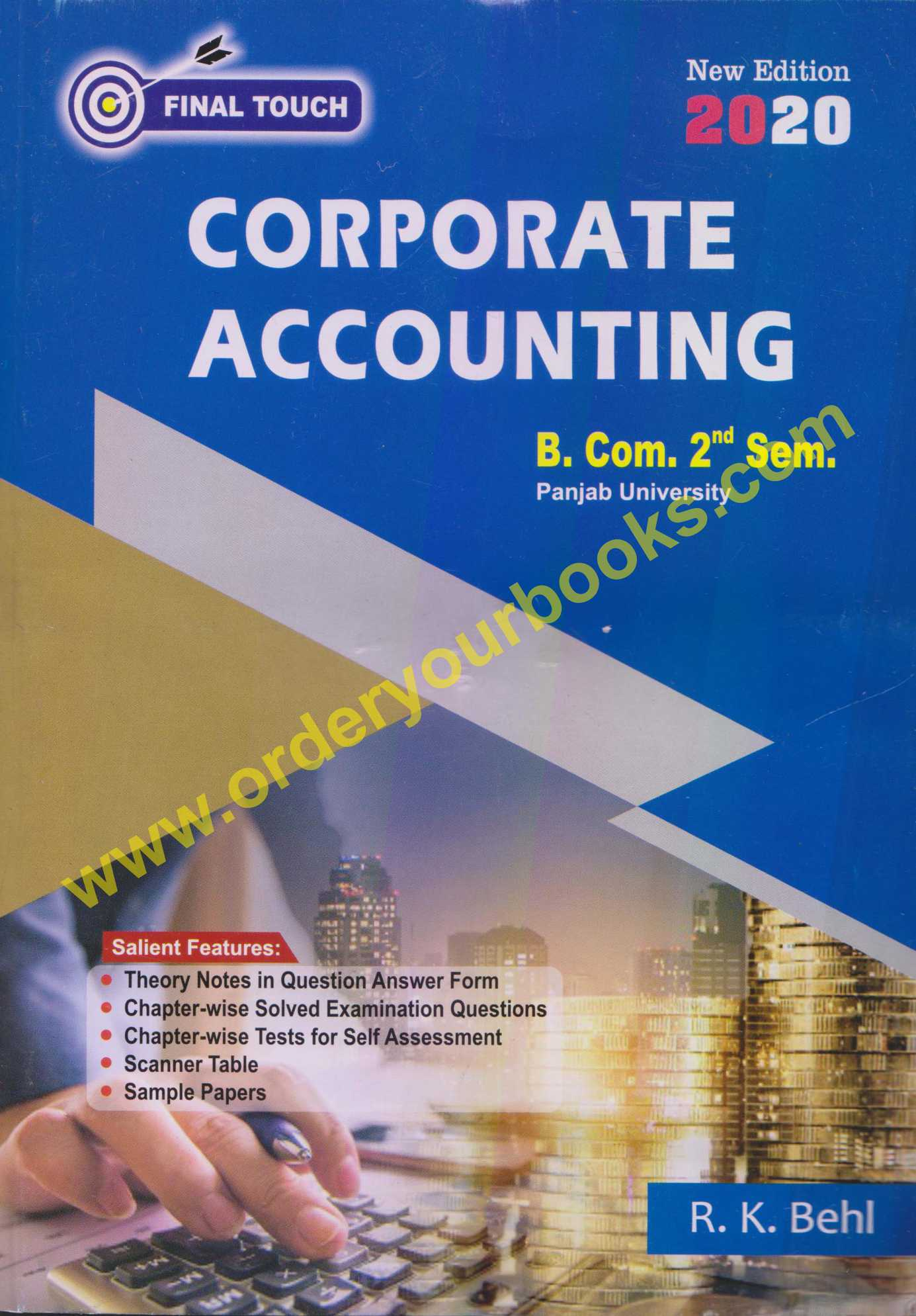 Final Touch Corporate Accounting B.com Sem II by R.K Bhel Edition 2020 for Panjab University