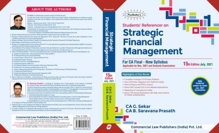 Paduka's Students Referencer on Strategic Financial Management For CA Final New Syllabus CA Final by G Sekar , B Sarvana Prasath Applicable for 2021 Exam(Commercial law publishers)