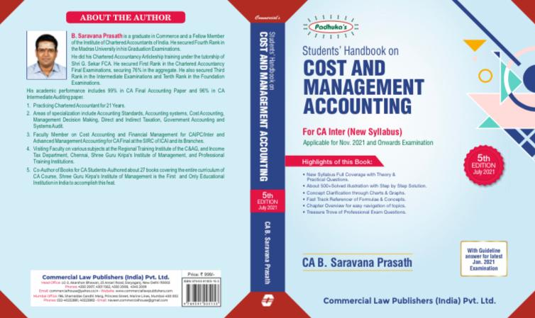 Padhuka Students Handbook on Cost and Management Accounting for CA Inter By Ca B Saravana Prasath for 2021 Exam (Commercial law publishers) 1