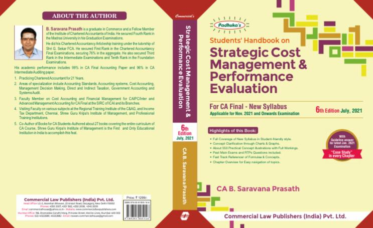 CCH Padhukas Students Handbook on Strategic Cost Management & Performance Evaluation for CA Final New Syllabus By B Saravana Prasath Applicable for November 2021 Exam(Commercial law publishers)