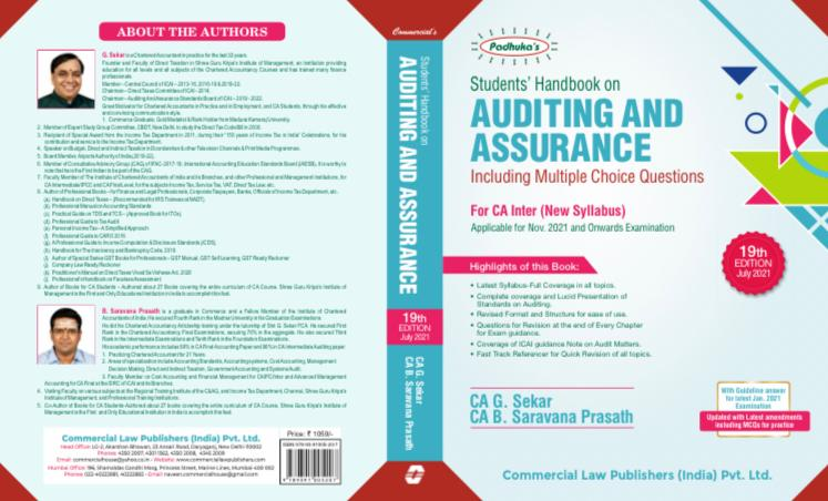 Padhuka's Students Handbook on Auditing & Assurance for CA Inter by G Sekar and Saravana Prasath Applicable for 2021 Exam