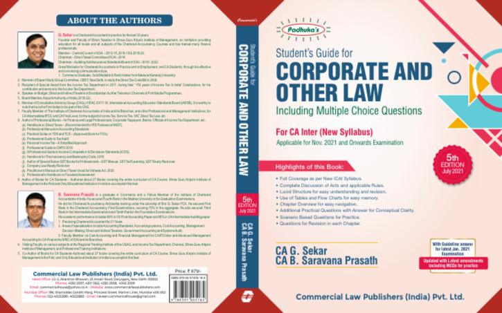 Padhuka Students Guide for Corporate and Other Law CA Inter (New Syllabus) By G Sekar , B Saravana Prasath Applicable for 2021 Exam
