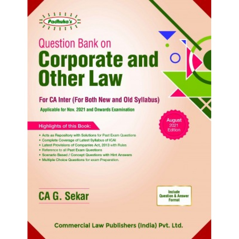 PADUKA'S Commercial's Question bank on Corporate and other law by G. Sekar for Nov 2021 Exam