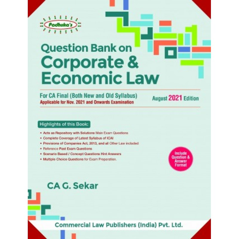 PADUKA'S Commercial's Question bank on Corporate and economic law by G. Sekar for Nov 2021 Exam